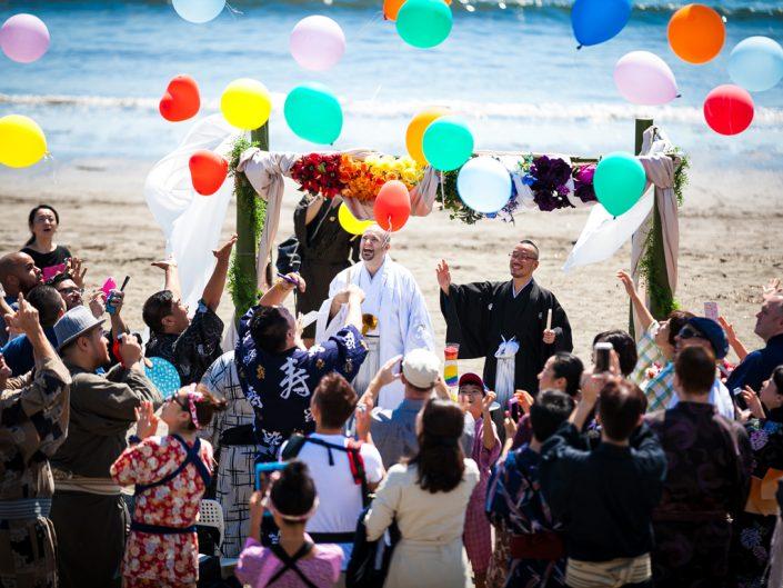海辺での結婚式とパーティ撮影